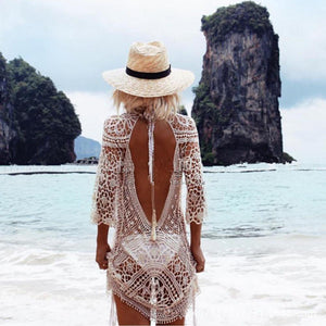 White Knitted Laced Cover Up