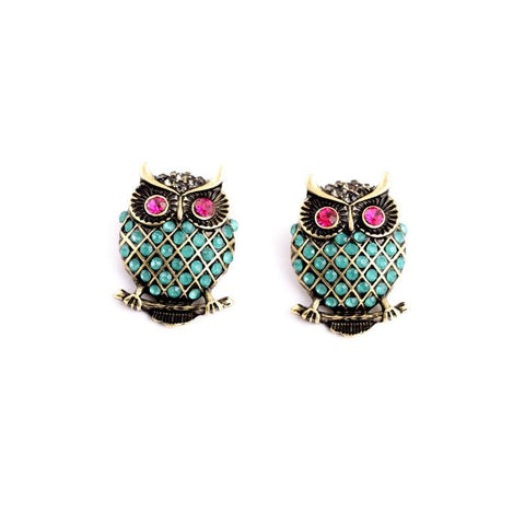 Pink & Green Owl Earrings