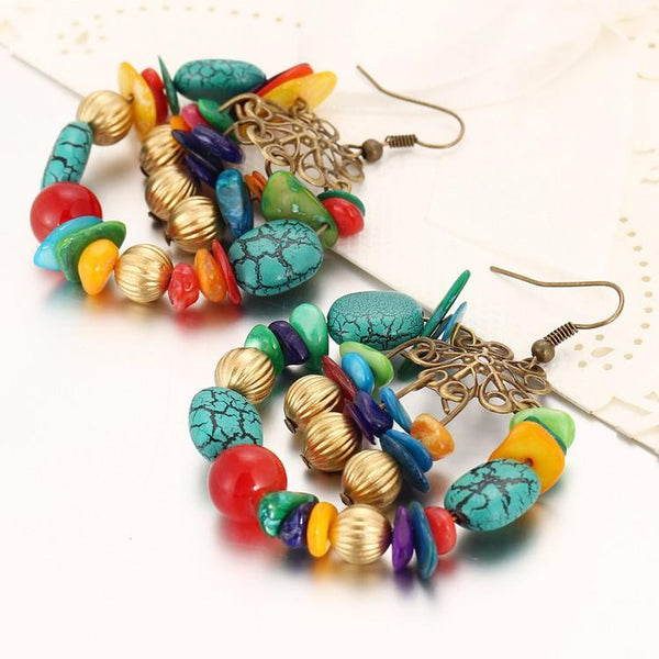 Boho Vintage Stone Drop Earrings