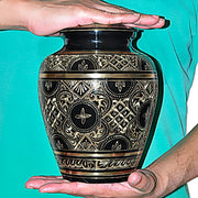 Black Brass Etched Urn