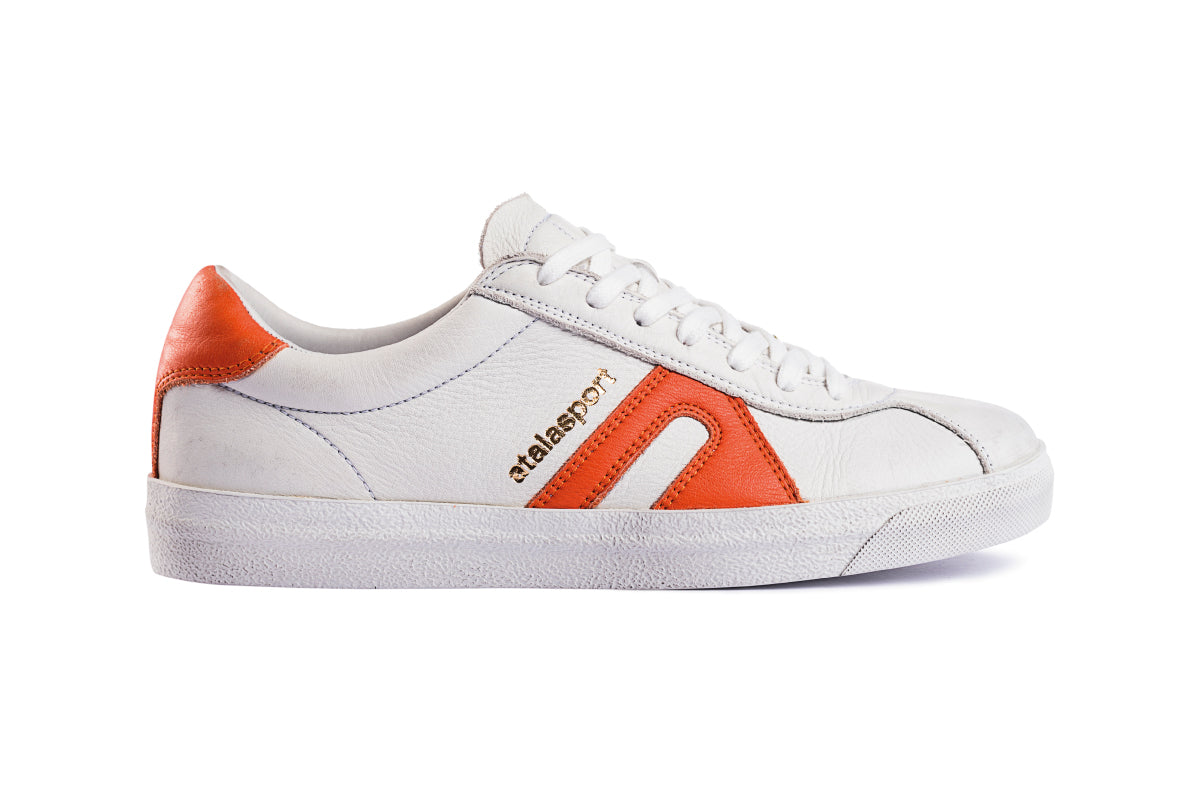 Star leather - White / Tangerine Orange