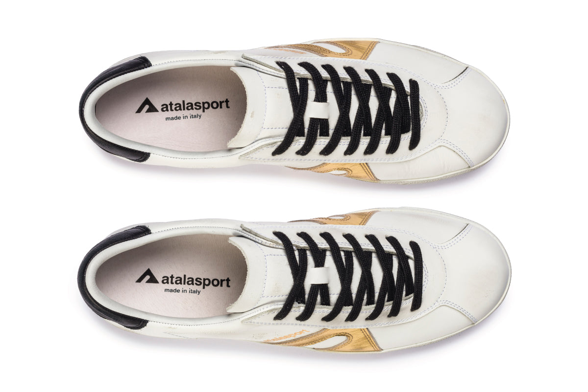 Star Leather - White / Gold & Black