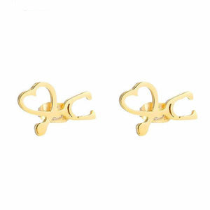Stethoscope Double Heart Boucles Stud Earrings