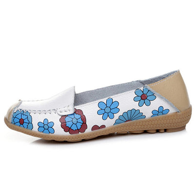 Flower Print Leather Soft Breathable Sneakers