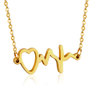 Medical Heartbeat Heart Charm Necklaces