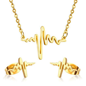 Beat Heart Anti-allergy Necklace & Earrings Sets for Women