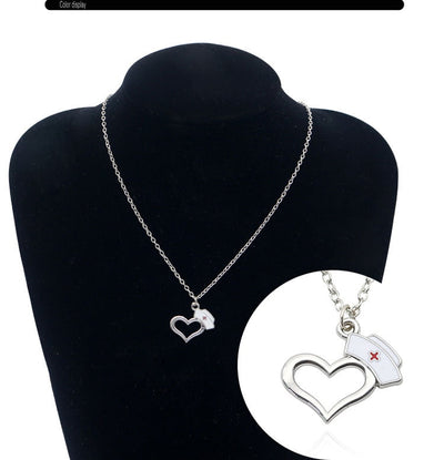 Unique Love Prayer Heart Nurse Cap Pendant Necklace For Doctor Nurse Women Nursing Graduation Creative Gift Medical Jewelry