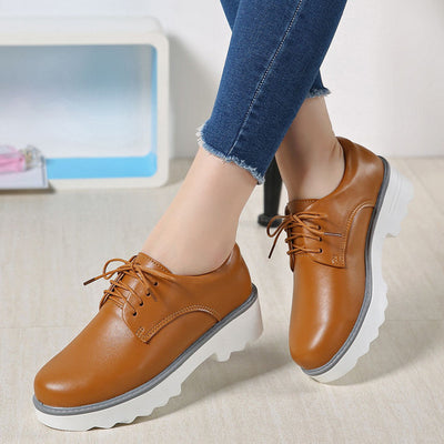 Spring Women Flat Platform Shoes Oxfords Genuine Leather Lace Up Flats Shoes