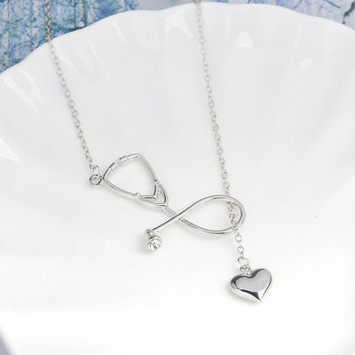 Stylish Gold Silver 2 Color Nurse Heart Stethoscope Necklace Doctors Nursing Jewelry Medicine Graduation Gift
