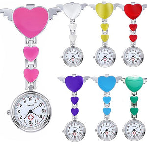 Women Lady Cute Love Heart Quartz Clip-on Fob Brooch Nurse Doctor Pocket Watch