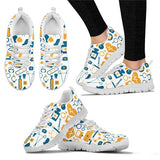 Mustard and Blue Medical Print Sneakers