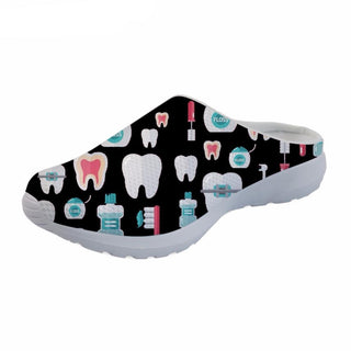 Black 3D Cartoon Toothy Slip On Shoes