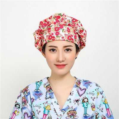 Adjustable Dog Print Poppy Medical Cap