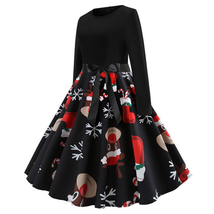 2020 Christmas Print Vintage Dress Long Sleeve