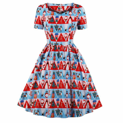 Vintage Christmas Printed Fit and Flare Dress