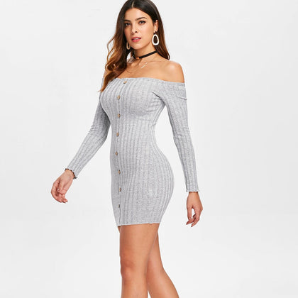 Knit Ribbed Mini Tight Dress