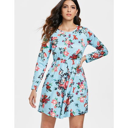 Long Sleeve Floral Print Elastic Waist Dress