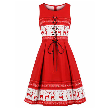 Christmas Vintage Elk Print Lace Up Flare Dress