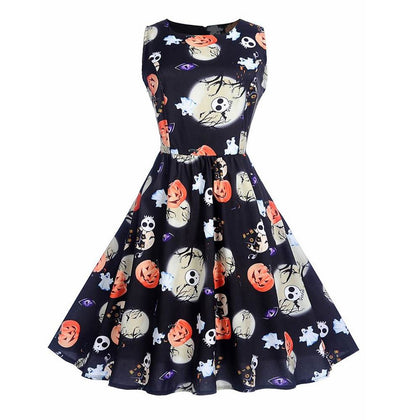 Halloween Pumpkin Print High Waist Swing Dress