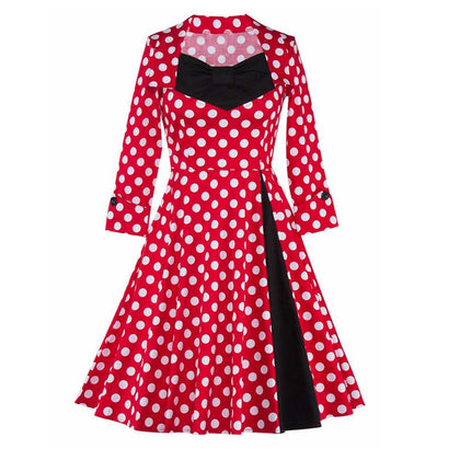 Polka Dot Print Long Sleeve A Line Dress