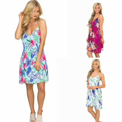Women's V Neck Floral Midi Dress A-Line Spaghetti Strap for Casual Cocktail