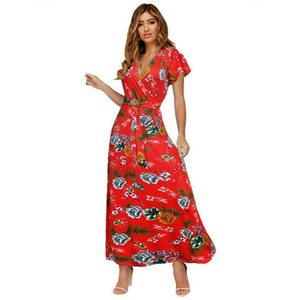 Women's Sexy Deep V Neck Floral Print Flowy Party Maxi Dress with Belt