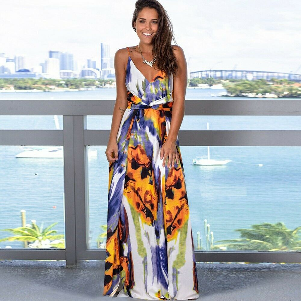 Women's Summer Casual Sleeveless V Neck Strappy Split Long Cami Maxi Dresses