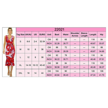 Women's V-neck Sleeveless Summer Casual Sexy Printed Lotus Dress