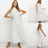 Women's Summer Casual Polka Dot Print Beach Cover Up Boho Maxi Dresses