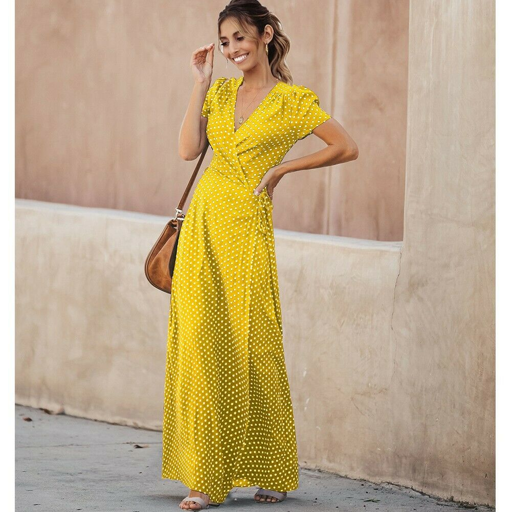 Women's Summer Floral Print Cross V Neck Dress Bohemian Flowy Long Maxi Dresses