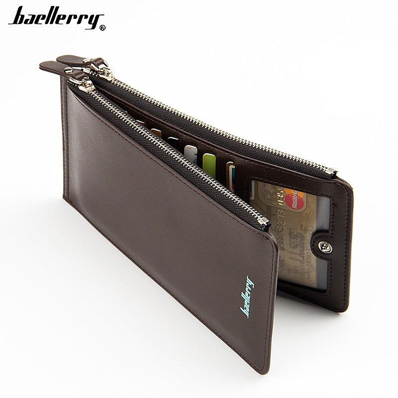 Baellerry CA0131 Solid Color Cell Phone Money Photo Card Clutch Long Wallet for Men