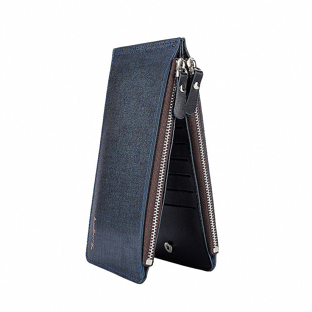 Baellerry Solid Color Cell Phone Money Photo Card Clutch Long Wallet for Men
