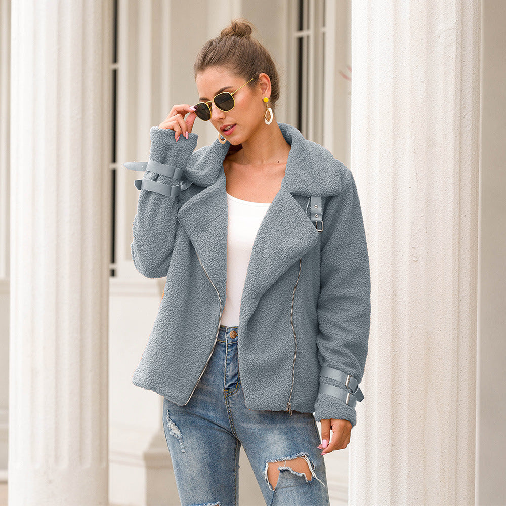 Women's Fashion Long Sleeve Lapel Zip Up Faux Shearling Slim Cut Short Plush Coat Jacket with Pockets Warm Winter