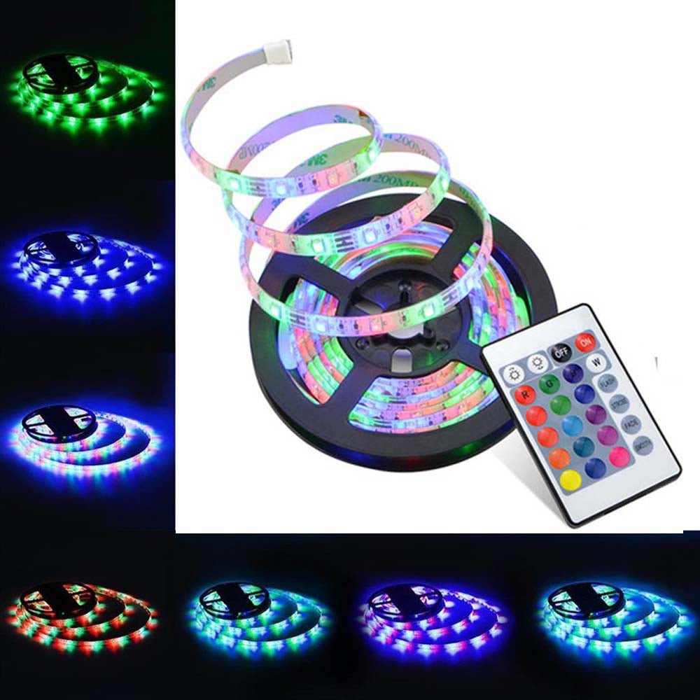 SUPli LED Strip Lights Waterproof 3528 5M 300leds RGB with 24key IR Controller