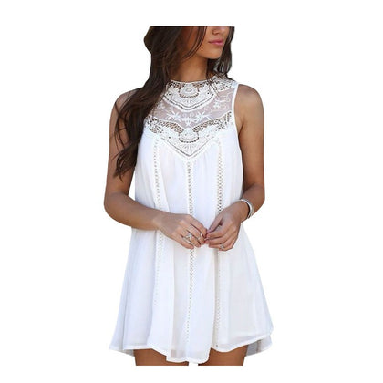 Crochet Panel Sleeveless Mini Dress