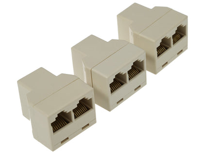 3pcs / Pack RJ45 CAT5 Ethernet Cable LAN Port 1 to 2 Socket Splitter Connector