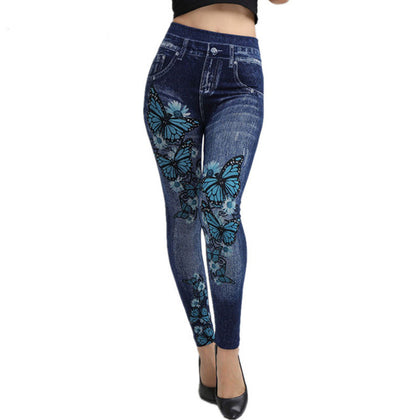Floral Butterfly Print Elastic Waist Jeggings