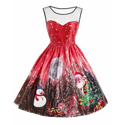 Christmas Santa Claus Snowman Mesh Panel Dress