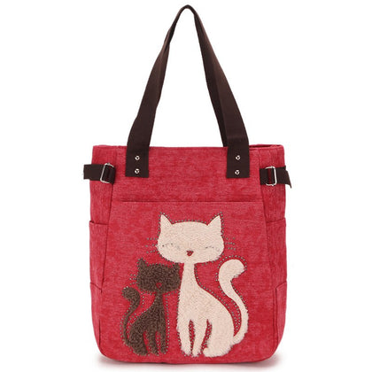 Cute Cat Print Beaded Zippered Canvas Handbag for Ladies