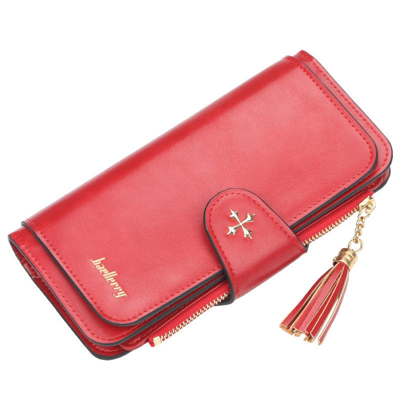 PU Leather Women Wallet Buckle Long Type Card Slot Handbag