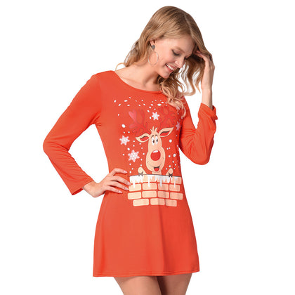 Christmas Elk Print Mini Tee Dress