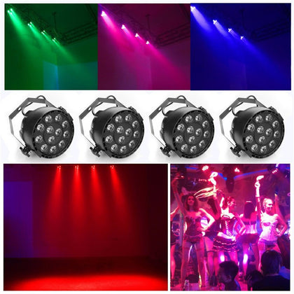 12 LEDs RGBW Color Mixing Par Lamp 8CH Voice Activated Light for Stage Party