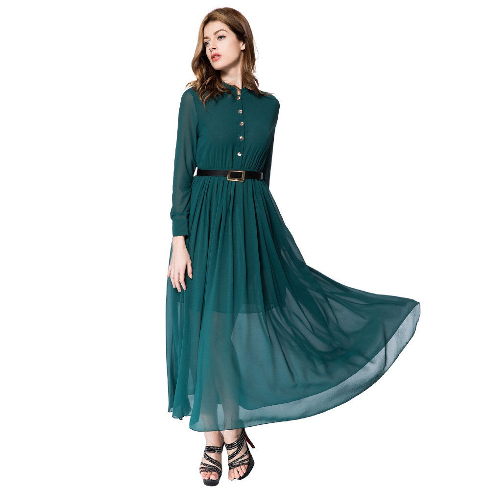 Vintage Stand Collar Long Sleeve Pure Color Chiffon Anklel-Length Dress for Ladies