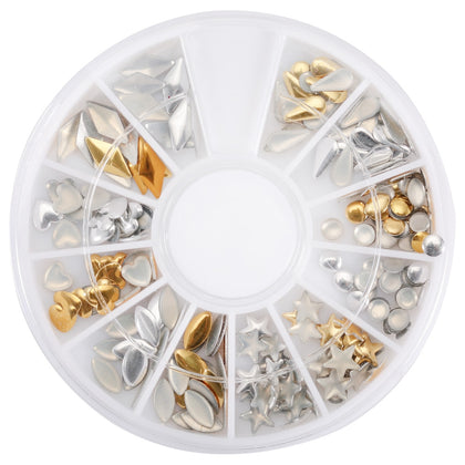 12 Shapes 3D Nail Art Decorations Wheel With Gold And Silver Metal Studs
