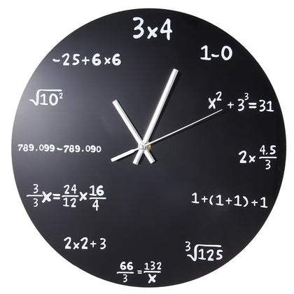 Creative Mathematics Blackboard Clock Black Powder Coated Metal