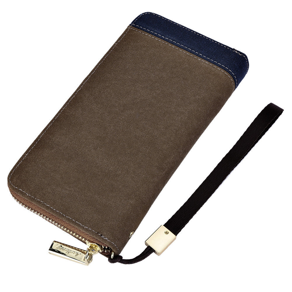 Baellerry Patchwork Canvas Portable Clutch Wallet for Men