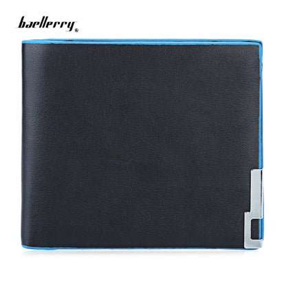 Baellerry Trendy Pure Color Men Short Open Cash Photo Card Wallet