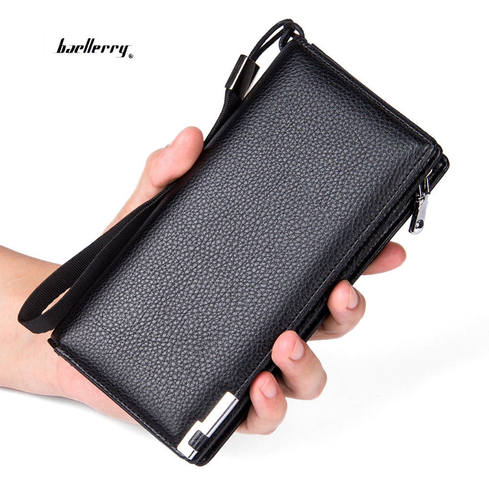 Baellerry Men Lichee Pattern Metal Clip Embellishment Vertical Long Portable Clutch Wallet