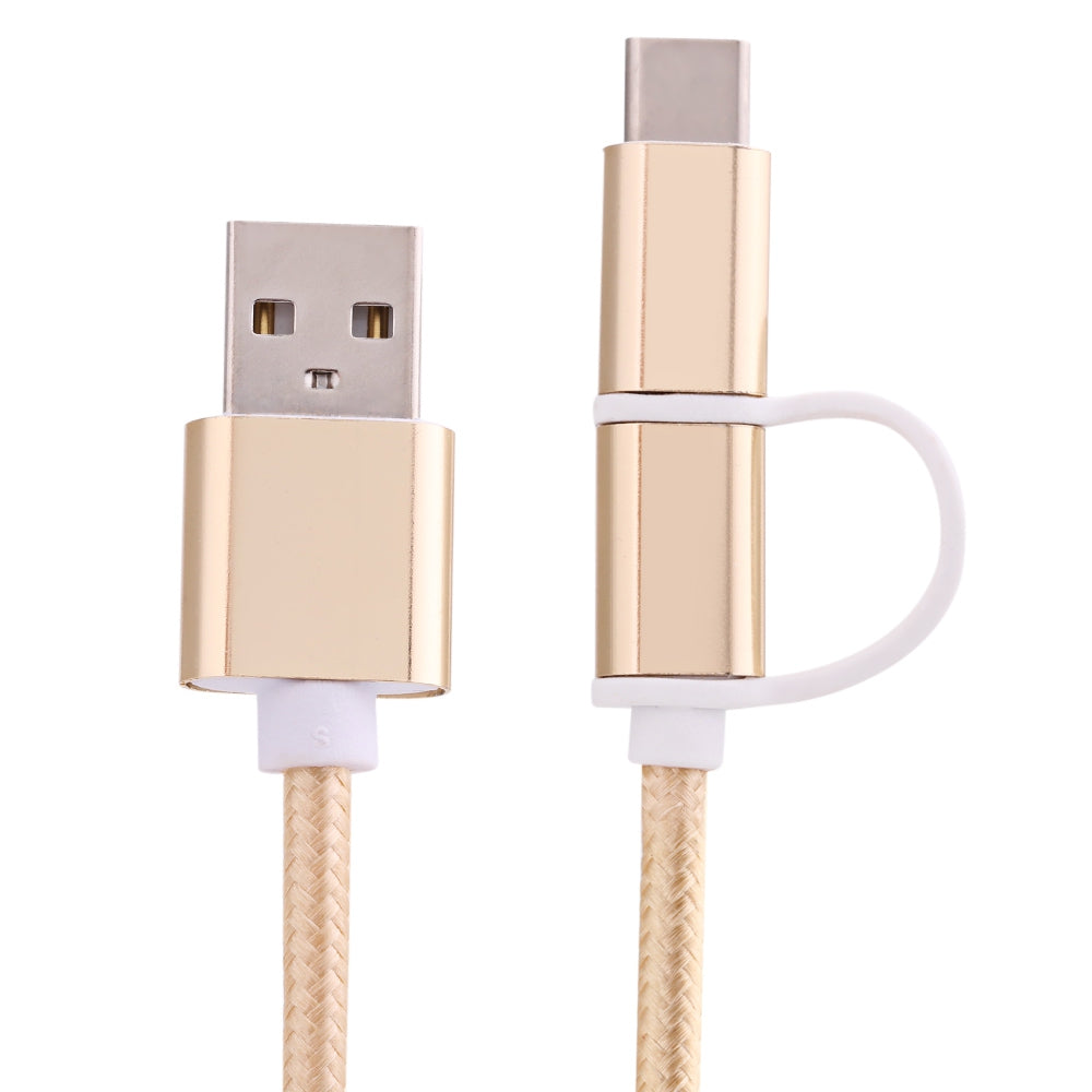 2 in 1 Micro USB Nylon Braided Charging Cord with Type-C Adapter 1m