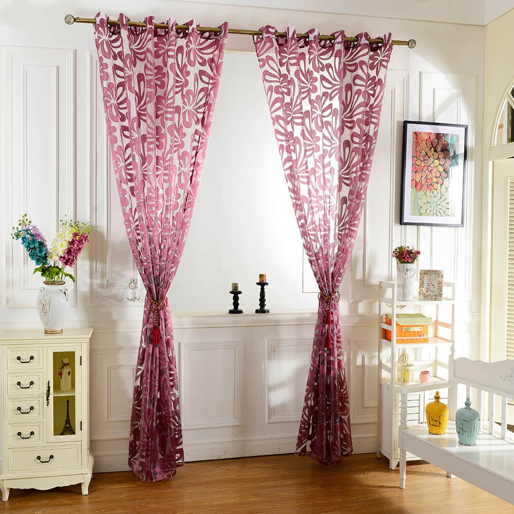 100 x 250cm European Flower Printed Tulle Window Curtains Home Decor